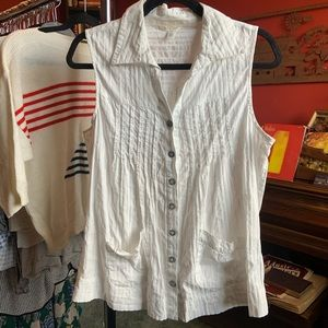 Maurices White Button Up Western Tank